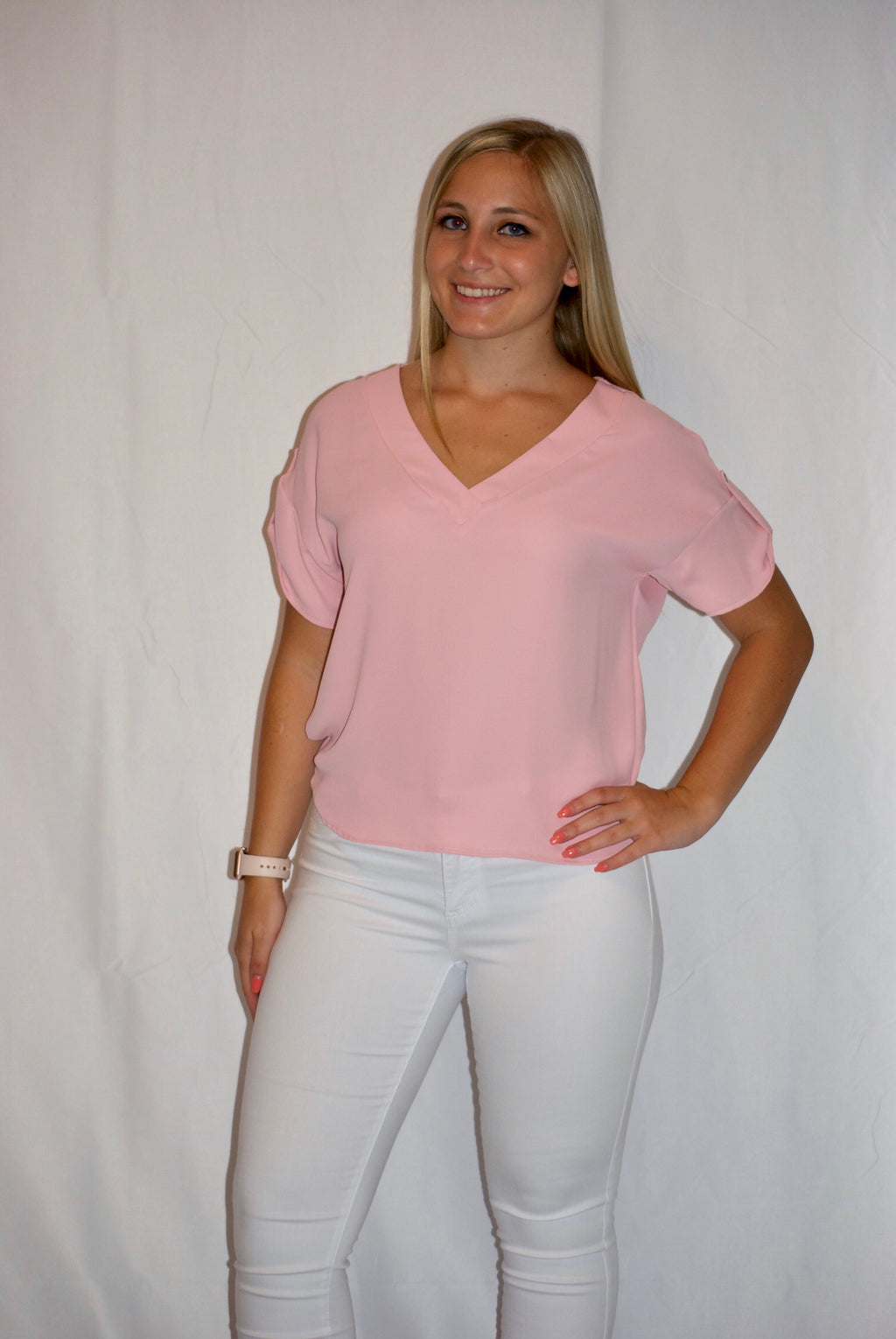 Blush V Neck Top