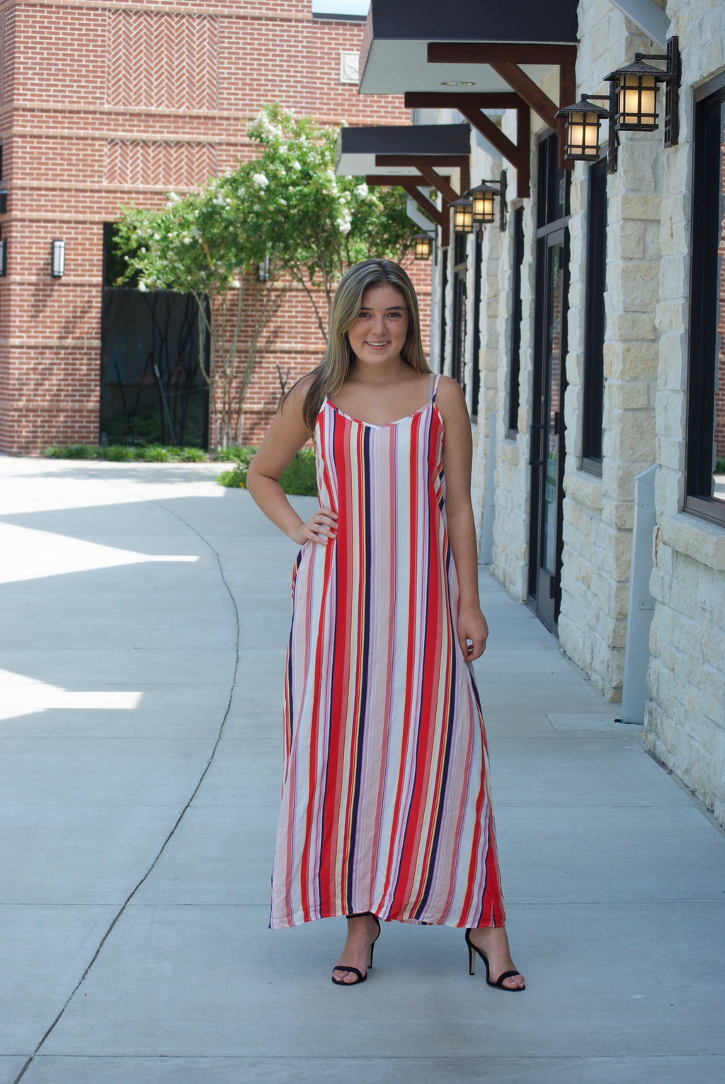 Striped Woven Maxi Dress