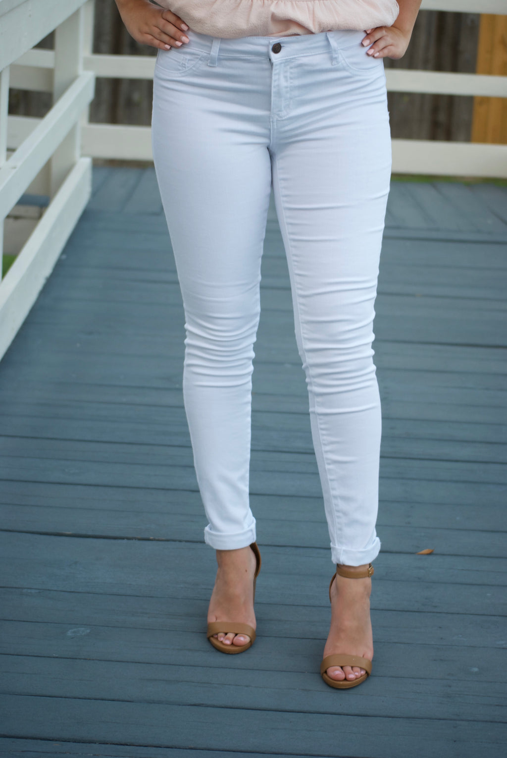 White Denim Mid Rise Ankle Skinny