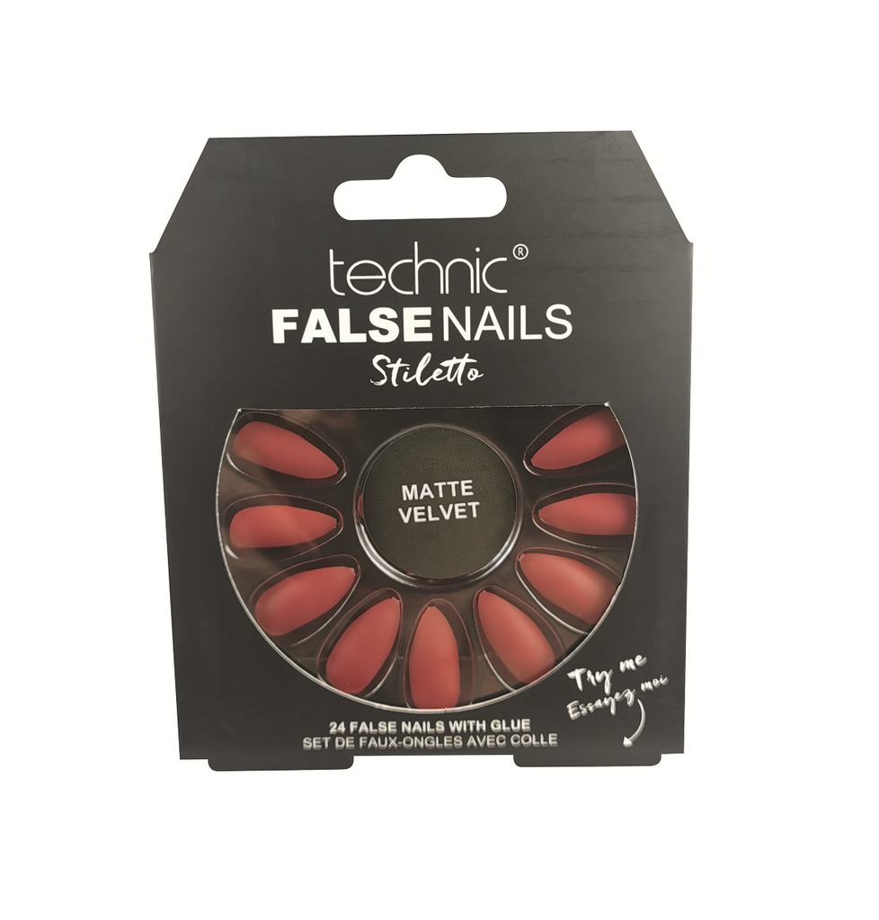 Technic False Nails - Matte Red Velvet Stiletto