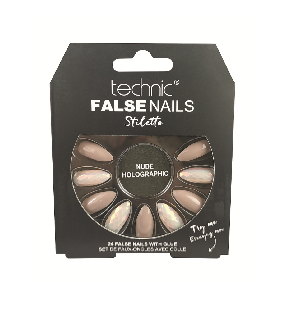 Technic False Nails - Nude Holographic Stiletto
