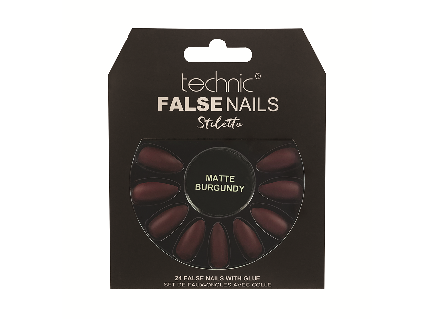 Technic False Nails - Stiletto Matte Burgundy