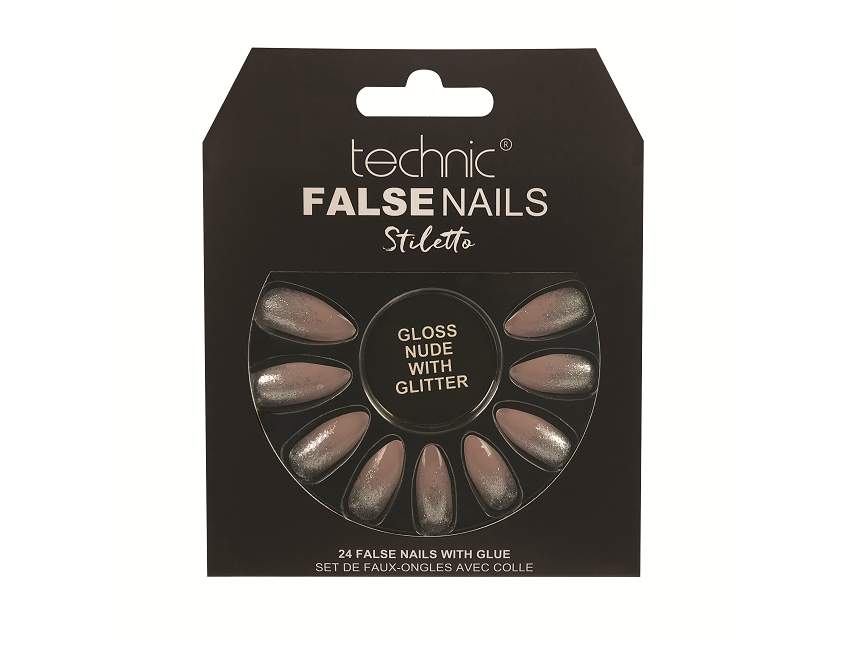 Technic False Nails - Stiletto Gloss Nude With Glitter