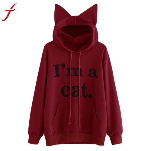 Hooded Sweatshirt For Womens Lady Funny Cat Ears Long Sleeve Hoodie Pullover I'M A CAT Letter Printed Pocket Tops Blouse Any Panda