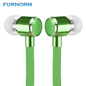 FORNORM Shoelaces Earphones In-Ear Stereo Bass Headset with Microphone for iphone 7 6S Samsung Xiaomi Any Panda