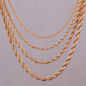 "Gold Rope Chain Necklace 16"" 18"" 20"" 24"""