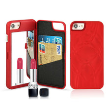 Super convenient wallet phone case to iPhone to hold card, drivers license, and other slim items. Comes with mirror as well for makeup application among other things