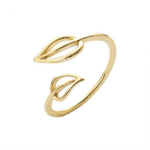 Gold Silver Double Leaf Toe Ring