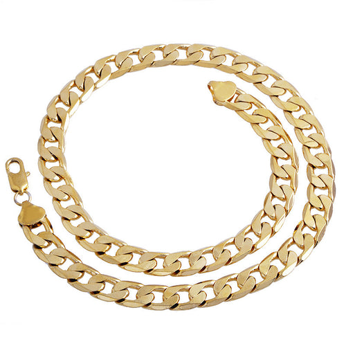 Gold Twisted Cuban Link Chain 24inch 7mm