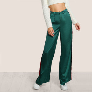 Green Striped Bell Bottom Pants