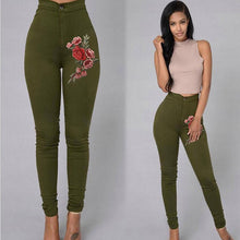 Slim Floral embroidered stretch pants for women