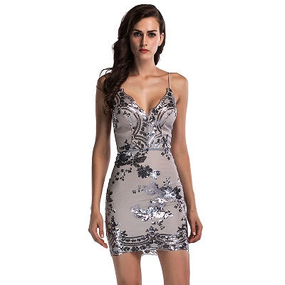 Sexy women's laced V-neck Backless Dress