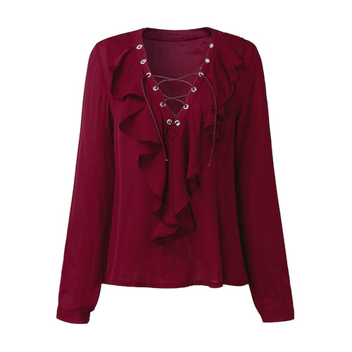 Chiffon Lace Up Blouse