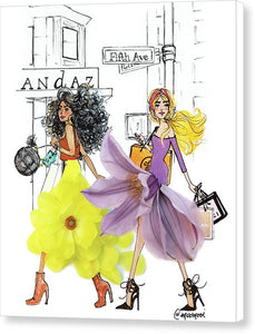 Fifth Ave Shopper Girls - Canvas Print
