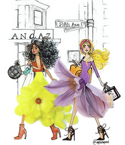 Fifth Ave Shopper Girls - Art Print