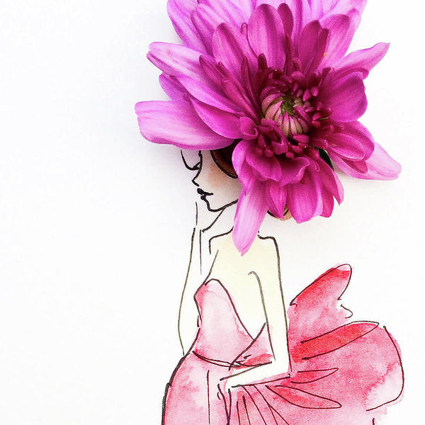 Pink Bow Big Pink Hat - Art Print