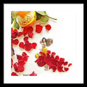 Red Petal Skirt W/background - Framed Print