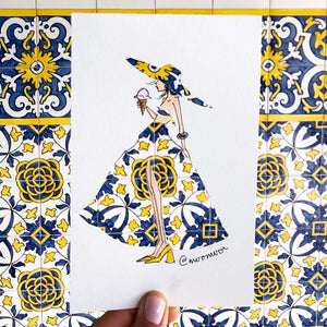 Yellow Portugal Girl - Art Print