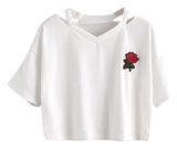 CROP TOP LA ROSE  (NOIR & BLANC)