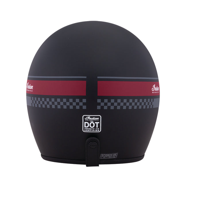 Retro Open Face Helmet with Stripe and Checker