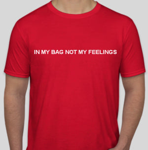 "Red and white ""no feelings"" tee"