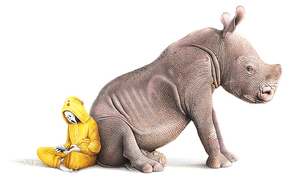 Drawing of a child and rhino sitting back to back. The child is wearing a pokemon onesie and scream mask and staring at a smart phone
