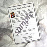 A photo of a sample certificate of authenticity from Redcliffe Imagine Ltd resting on a covered up artwork of a mongoose