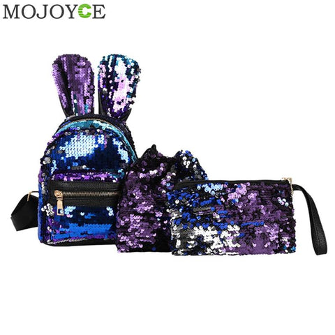 Sequin Backpack Rabbit Ears Purse Zipper Shoulder Small Bag SE 22f513ca0b