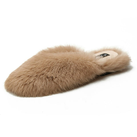 Fur Sandals Slippers Indoor Flat Loafers RI