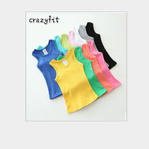 2-8T Children T Shirts Summer Style Boys Girls Clothes Vest Cotton Casual Sleeveless  kids bddce6a620ae