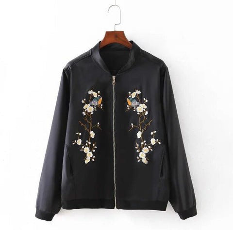 Jacket New Women Contrast color Floral Bomber
