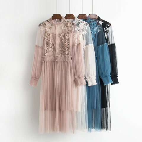 dress Autumn new female flower sweet gauze lace pressure pleated