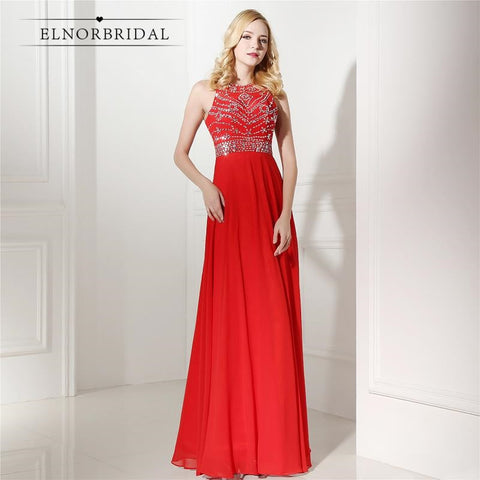 ae6d7145078f Red Sequins Chiffon Prom Formal Gowns Dress