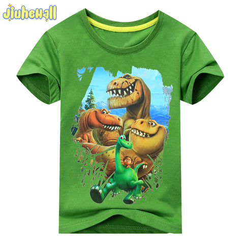 4078608b2a67 2017 Summer Boy Girl Dinosaur Pattern Short SleeveS T-Shirt Kids 100%Cotton  White