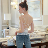 Tank Top  hollow back  Lace Floral