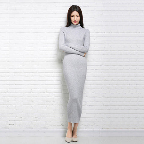 dress autumn and winter sexy long dress sweater female
