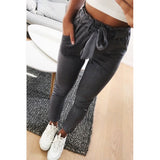 pant Leather Casual pencil waist