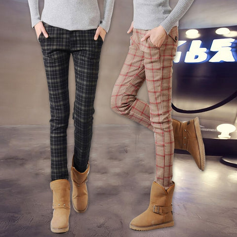 Plaid skinny slim pencil pants PU22