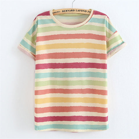 t shirt Crimping Striped/flowers