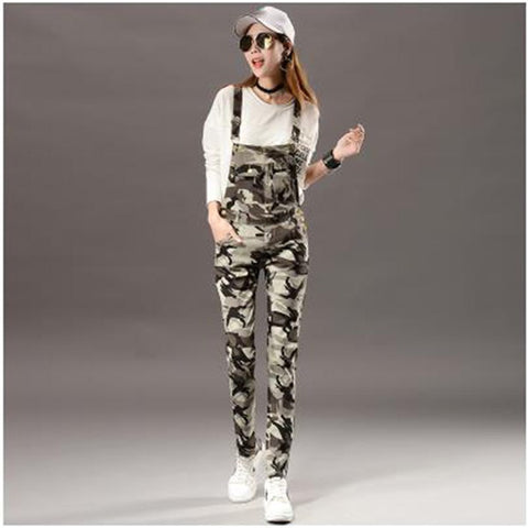 Camouflage Overalls For Women Autumn Winter One Piece Long Jumpsuit