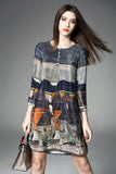 Dress Women Spring Summer Vintage A-line Printing