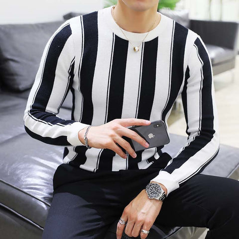 Striped Round Neck Sweater Men SE