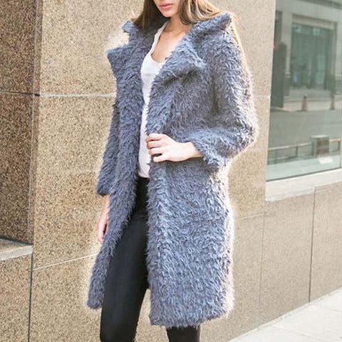 Jacket  Women Long Wool Blend Cardigan Overcoat Ladies Winter Large