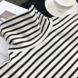 Black White Striped Long Sleeve Loose T Shirts
