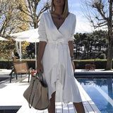 Wrapped Ruffles Belted White Dress
