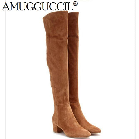 Suede Zip Over The Knee Boots RI