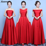 Satin Red Prom Gowns Maxi Dress SE
