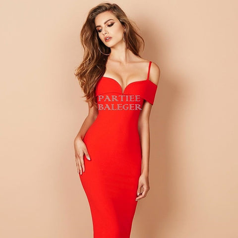 8ac6751e5fb Deep V Neck Off The Shoulder Double Straps Short Sleeves Bandage Dress