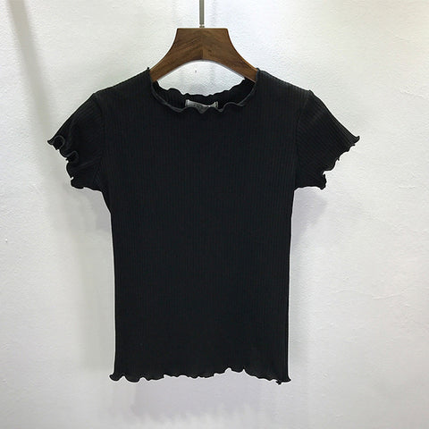 Summer Tees ruffles Ribbed Short Sleeve T-shirt