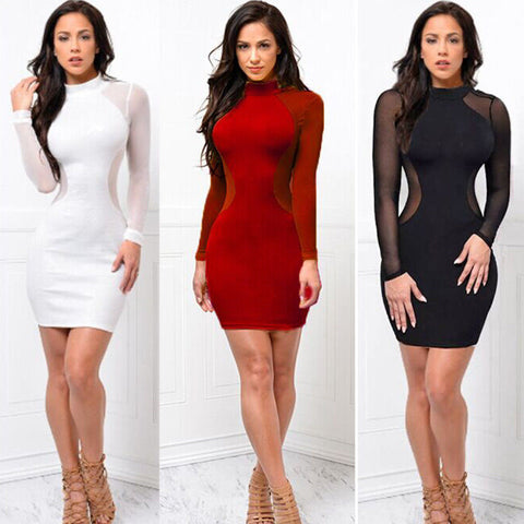 24e1b518721b Long Sleeve Sheer See Through Bodycon Mini Dress